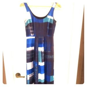 Ann Taylor size 0 blue silk maxi dress.